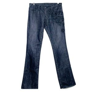 RALPH LAUREN • Black Beaded Stretch Dakota Jeans